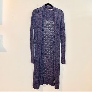 KIMCHI BLUE Open Front Purple Knit Duster Cardigan